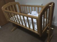 "John Lewis ""Anna"" Swinging Crib and mattress - great condition, smoke free home"