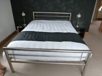 King size metal bed and matress