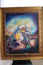 AMAZING LARGE SCALE ABSTRACT OIL PAINTING BY FAMOUS ARTIST GUSTAV KLIMT- PORTRAIT - ONLY £250 INC