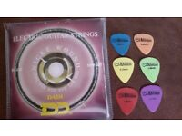 Guitar strings and plectrums