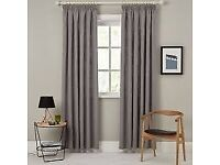 Pair of John Lewis Linen Blend Lined Pencil Pleat Curtains, Steel