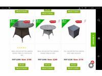 New Garden table round in dark brown ratten steel frame