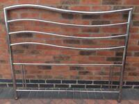 Double headboard chrome plated metal modern wavey