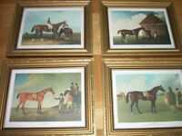 EIGHT REPRODUCTION ANTIQUE HORSE PRINTS. Various frame sizes.