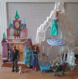 DISNEY FROZEN ICE PALACE CASTLE PLAYSET FOR BARBIE SIZED DOLLS WITH ANNA ELSA KRISTOFF SVEN