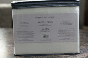Distinctly Home 4 Piece Queen White Sheet Set