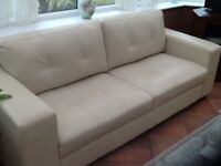 LEATHER SOFAS beige 2 and 3 seaters