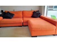 SALE. Large comfortable design Sofa.3 modules (280 X 110) +( 110 X 107) and 4 Brown chocolate