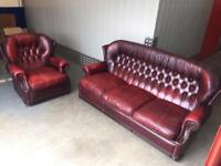 Ox blood chesterfield sofa set, Free delivery