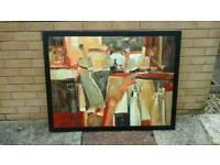 Genuine framed oil painting abstract,aprox 1m long x 85cm