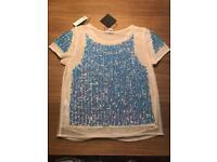 Blue sequin T-shirt
