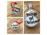Personalised Christmas baubles - baby 1st, in memory or just a name