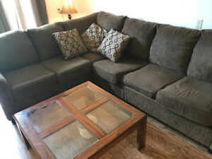 Sectional with pull out mattress and coffee table