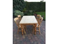 Solid Pine Wood Dining Table and 4 Chairs