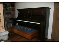 Upright Piano and Double Seated Stool with music books and accessories