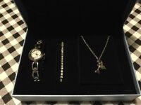 Box set watch, bracelet and necklace.