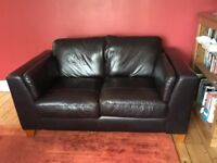 Two good quality dark brown leather sofas, one 2 seater, one 3 seater