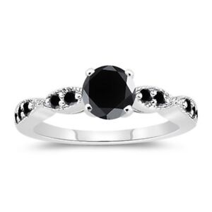 1.2 ct Black Diamond & Sterling Silver Engagement Ring