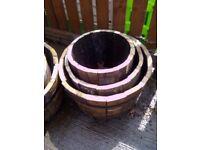 Oak Whisky Barrel Planter Set
