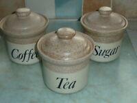 Tea, coffee, sugar earthenware storage jars