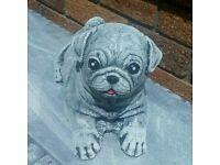 Pug dog concrete ornament