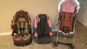 2 car seats and stroller