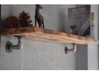 Handmade Pipe Industrial Shelve Burn Wood