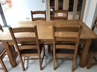 Ash dining table and 8 chairs