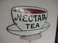 1915, Old Nectar Tea Enamel Sign, Advertising, Metal Shop/BR Railway Station ,Lyons,Liptons,B. Bond