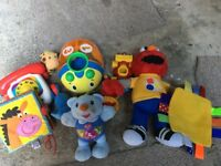 Collection of baby/child toys including vtech, Elmo, fisher price