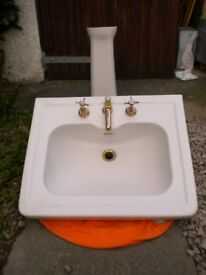B.C Sanitan Berkely vintage sink and pedestal with brass colour fittings.