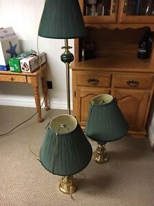 Set of 2 table lamps and floor lamp