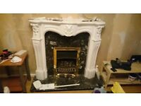 Complete gas fireplace with marble hearth and panel for sale