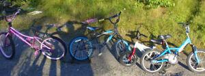 various mountain bikes, road bikes, racing bikes
