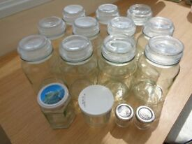 Jars various sizes 14 in all