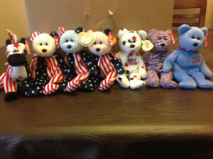 Collection of 7 Patriotic American Beanie Babies