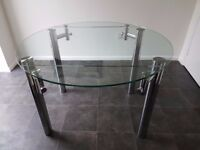 Round, glass folding dinning table