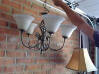 Hung ceiling light fitting with 5 shades. Matching wall lights.