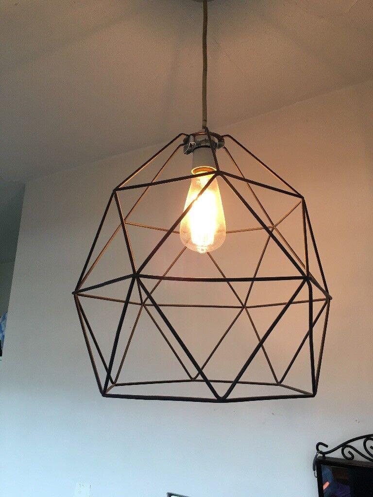 Ikea Brunsta Black Geometric Pendant Light Lamp Shade In