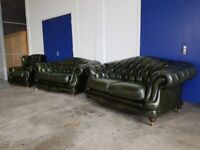 THOMAS LLOYD ANTIQUE GREEN LEATHER REGENT CHESTERFIELD LOUNGE SUITE 2 x 2 SEATER SOFAS ARMCHAIR