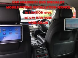 CAR HEADRESTs SCREENs DVD monitors FITTING roof screens (with SRS modul removal) London area