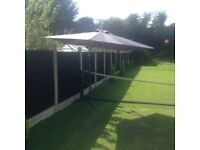 Grey cantilever garden patio parasol as new used once £35 tel 07966921804