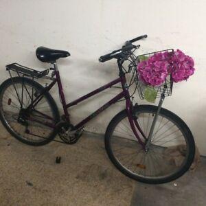 Vélo violet avec des fleurs
