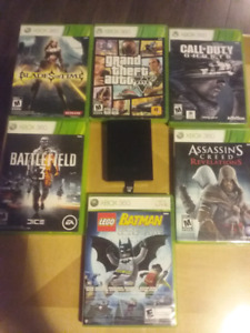 XBOX360 + HardDrive(500GB) + 6 Games