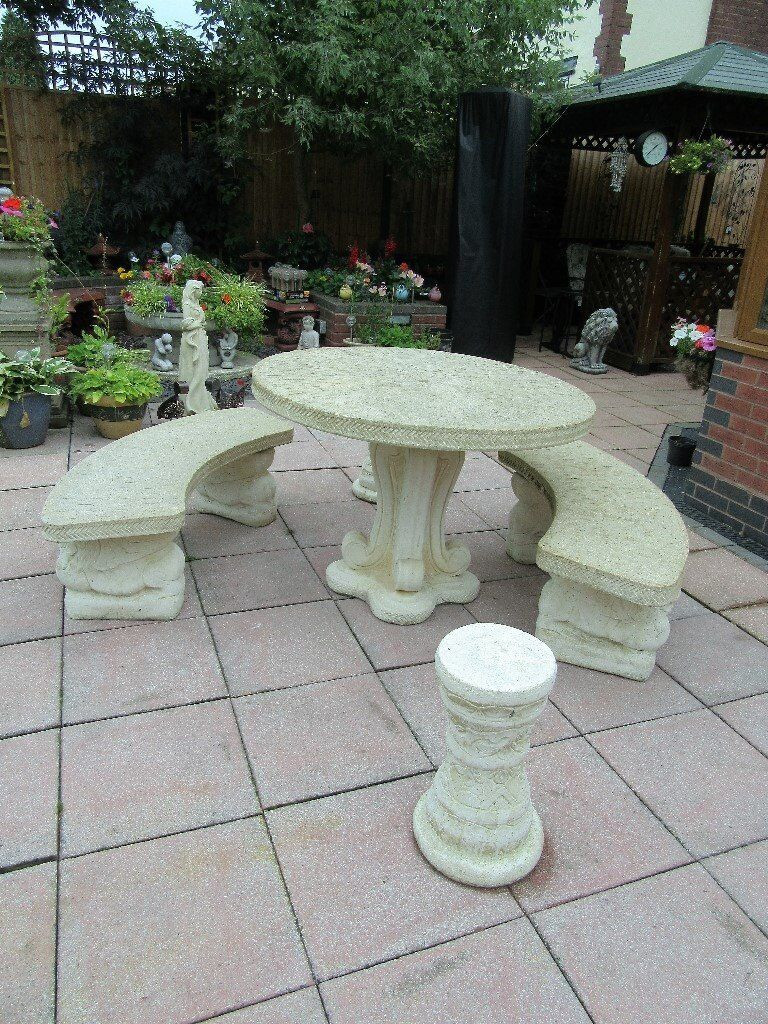 STONE GARDEN TABLE, BENCHES AND SEATS