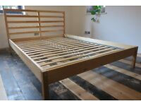 IKEA TARVA DOUBLE BED with LUROY SLATTED BED BASE (in GOOD CONDITION)