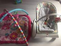 Baby playmat and bouncer chair bundle