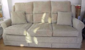 3 seater sofa, in excellent condition, in beige mix.