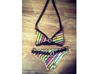 Coloured Striped Bikini - Size 10
