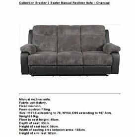 Collection Bradley 3 Seater Manual Recliner Sofa